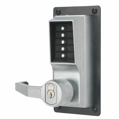 Dormakaba LLP1020M26D Left Hand Mechanical Pushbutton Exit Trim Lever Lock with Key Override, Medeco Prep Satin Chrome Finish