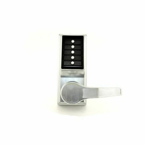 Dormakaba LRP101026D Right Hand Mechanical Pushbutton Exit Trim Lever Lock, Combination Only Satin Chrome Finish