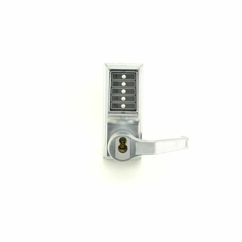 Dormakaba R8146S26D Right Hand Mechanical Pushbutton Lever Mortise Combination Entry Passage Lockout with Key Override, Schlage Prep Satin Chrome F...