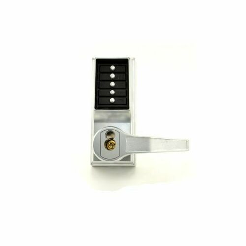 Dormakaba RR8148S26D Right Hand Reverse Mechanical Pushbutton Lever Mortise Combination Entry Passage Lockout with Deadbolt and Key Override, Schla...