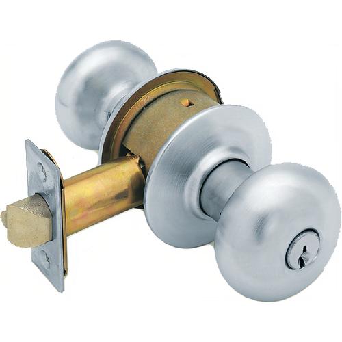 Schlage A80PDPLY626-2-3/4 BS Grade 2 Storeroom Knob Plymouth 2-3/4 Bs (11-096), T-strike (10-001), C Keyway, Satin Chrome 626