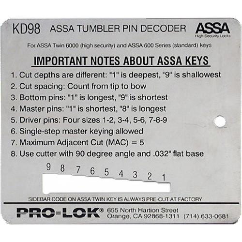 Pro-Lok KD98 Decoder Assa