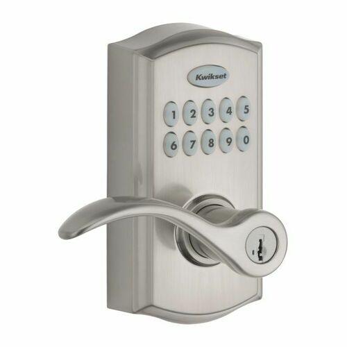 Kwikset 955PML-15S Pembroke Commercial Grade Electronic Smartcode Lever Lock with SmartKey Satin Nickel Finish