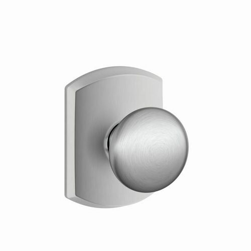 Schlage F10PLY626GRW Plymouth Knob with Greenwich Rose Passage Lock with 16080 Latch and 10027 Strike Satin Chrome Finish