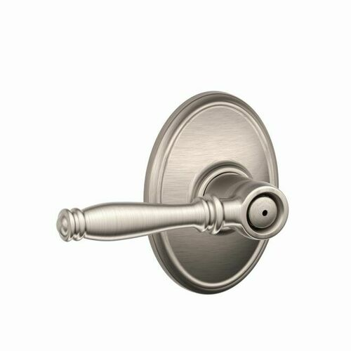 Schlage F40BIR619WKF Birmingham Lever with Wakefield Rose Privacy Lock with 16080 Latch and 10027 Strike Satin Nickel Finish