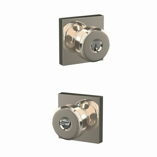 Schlage F51ABWE618COL Bowery Knob with Collins Rose Keyed Entry Lock C Keyway with 16086 Latch and 10027 Strike Bright Nickel Finish