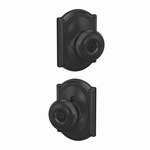 Schlage F51AGEO622CAM Georgian Knob with Camelot Rose Keyed Entry Lock C Keyway with 16211 Latch and 10063 Strike Matte Black Finish