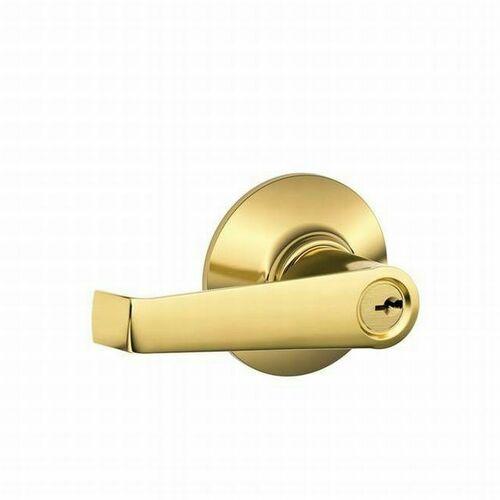 Schlage F80ELA505 Elan Lever Storeroom Lock C Keyway with 16211 Latch and 10063 Strike Lifetime Brass Finish
