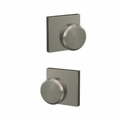 Schlage FC21BWE619COL Bowery Knob with Collins Rose Passage and Privacy Lock with 16600 Latch and 10027 Strike Satin Nickel Finish