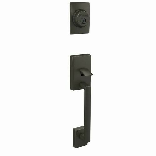 Schlage FC58CEN530 Custom Century Exterior Active Handleset Only with C Keyway Black Stainless Finish