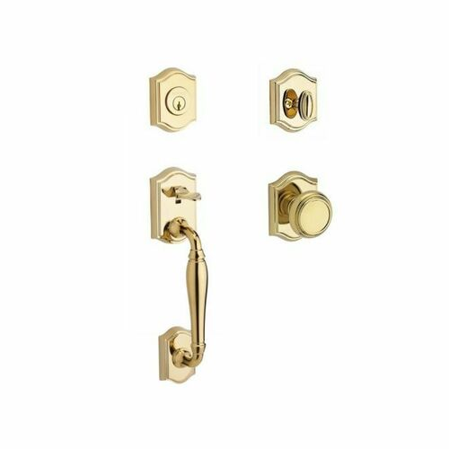 Baldwin SCWESXTRATAR003 Single Cylinder Westcliff Handleset Traditional Knob and Traditional Arch Rose with 6AL Latch and Dual Strike Lifetime Bras...