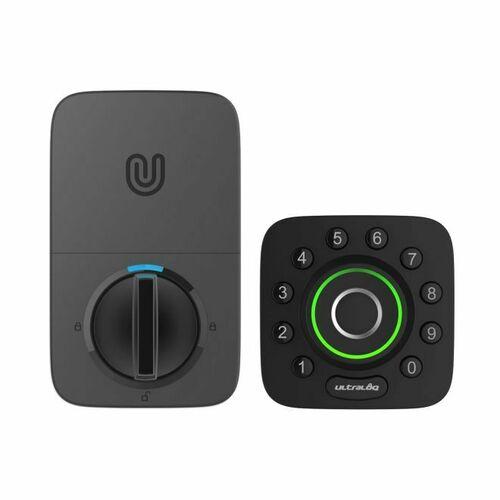 Ultra U-BOLT-PRO Bluetooth Enabled Fingerprint and Keypad Smart Deadbolt with Adjustable Backset Black and Silver Finish